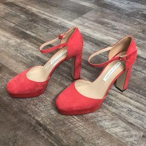 """Diane von Furstenberg Pink/Coral 4"""" Heels Size 7B"""